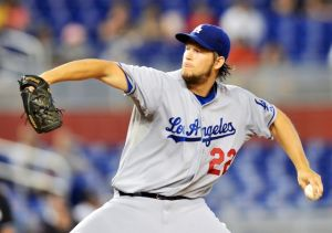 Aug 22, 2013; Miami, FL, USA; Los Angeles Dodgers starting pitcher Clayton Kershaw (22) throws against the Miami Marlins during the first inning at Marlins Park. Mandatory Credit: Steve Mitchell-USA TODAY Sports